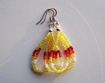 Native American Beaded Earrings Yellow