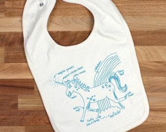 Unicorn baby bib, organic cotton, gender neutral baby gift, unicorn diagram bib, new baby, baby shower gift