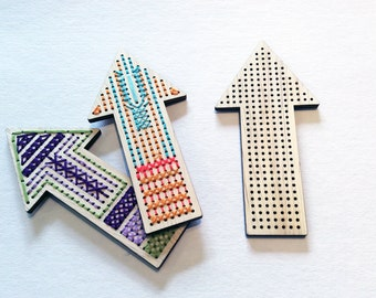 SALE Arrows to Stitch: Individual Small Arrow to Stitch, Arrow Wall Decor, Embroidery on Wood, Cross Stitch on Wood
