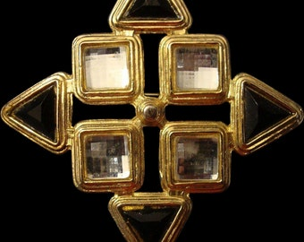 VINTAGE Large Maltese cross in glossy back enamel and mirrored clear stones