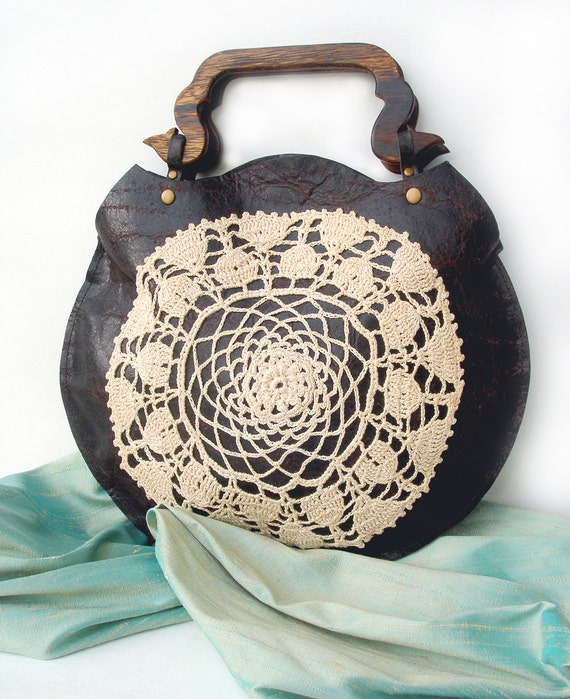 Crochet Round Purse : Boho Round Leather Purse with Vintage Crochet Doily and Wooden Handles ...