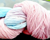 Hand dyed variegated pink, purple & blue merino, fingering weight, 440 yards