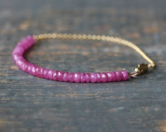 Pink Sapphire Bracelet, Beaded Bracelet, Gemstone Jewelry, Precious Gemstone, 14k Gold Filled, Delicate Bracelet, Gemstone Bracelet