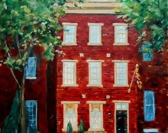 Custom House Oil Painting, custom home portrait, Baltimore Row house Custom House Portrait
