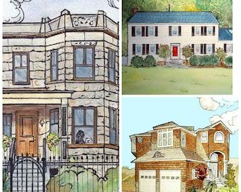 House Watercolor Painting, Custom Home Portrait, Rendering of House, Portrait Artist Robin Zebley