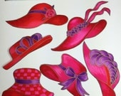RED HAT Fabric Appliques 12 HATS Society Pink Purple Iron On Quilting Scrapbooking