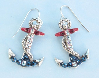 Nautical Anchor Earrings with Sparkling Crystals Red White and Blue