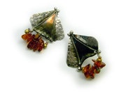 Post earrings in solid sterling silver with genuine amber One of a kind by Cathleen McLain