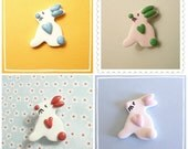 Easter Bunny Fridge Magnet or Office Magnet, Bunny Magnet, Cute Bunny with a Heart, Choice of Colors, Animal Magnet, handmade polymer clay