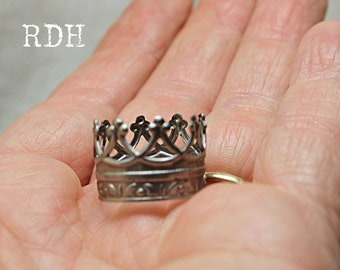 Tiny silver crown for dolls handmade