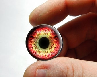 Glass Eyes - Red Yellow Zombie Human Doll Eyes Handmade Jewelry Cabochons - Pair or Single - You Choose Size
