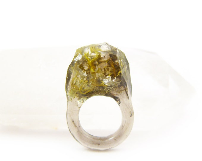 Terrarium + Silver Leaf Resin Ring • Size 4.5