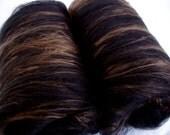 Softest merino silk spinning batts, nuno felting fiber, wet felting, needle felting wool, batting, 85/15 blend, BLACK/BRONZE,  3.5oz/100g