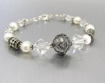 Pearl Bracelet, Sterling Silver Freshwater Pearls, Swarovski Crystal Bracelet, Sterling Silver Bracelet, Wedding Bride, June Birthstone