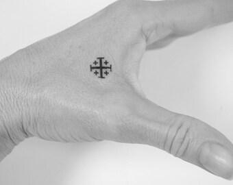 Jerusalem Cross Tattoo, Orthodox Cross, temporary tattoos, camp tattoos