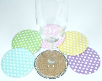 Polka Dot Coaster Set,Drink Coasters,Housewarming Gift,Gift Idea,Wedding Gift,Hostess Gift,Coaster