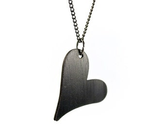 Reclaimed Vinyl Record Heart Pendant Necklace