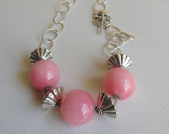 Pink Marble and Sterling Silver Necklace, Smokeylady54