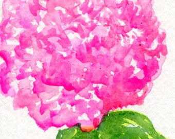 ACEO Pink Hydrangea Watercolors Paintings Original, Hydrangea Art Card hydrangea painting, ACEO miniature painting
