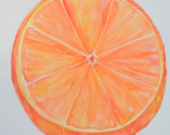 Orange Watercolor Painting original,  kitchen decor, kitchen wall art, original large watercolor painting of an orange, citrus fruit art