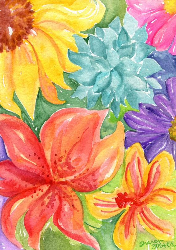 Tropical Flowers succulents watercolors paintings Original