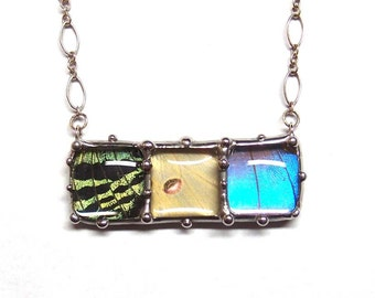 Bar Necklace with Three Squares - Sunset Moth, Blue Morpho Butterfly, and Luna Moth - Nature Jewelry- One of a Kind
