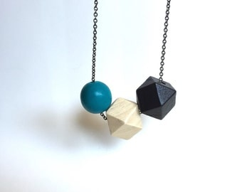 Faceted Geometric Necklace - 3 Wooden Beads on Gunmetal