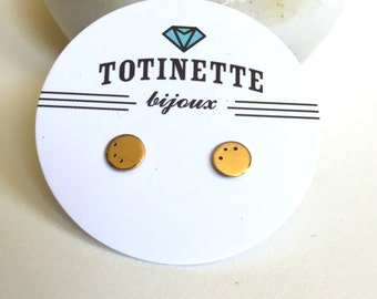 Tiny circle hand stamped stud earrings