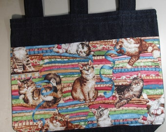 New Denim Walker Bag Kitties Cats Yarn Theme