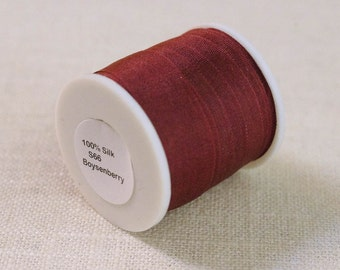 "13mm (1/2"") Embroidery Silk Ribbon - Cranberry - 15 Yards"