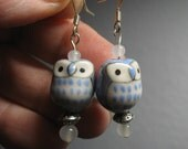 Blue Ceramic Owl Earrings