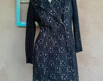 Vintage 1960s Dress Black Illusion Lace Mini Coat Dress US8 B39 W35