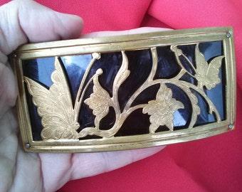 Vintage 1940s Buckle Brass Black Celluloid Art Nouveau Butterfly Daylily 20150709J105