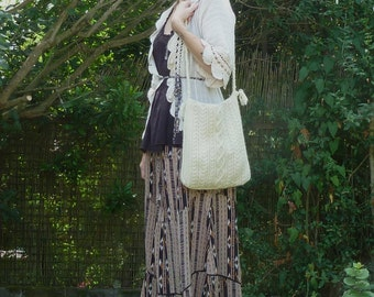 Vintage 70s Handmade CABLE KNIT Bag Tote