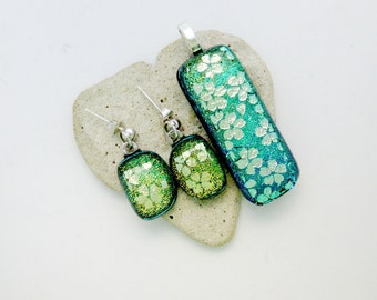 Aqua Dichroic with Gold Dichroic Flowers - Fused Glass Pendant and Post Dangle Earrings