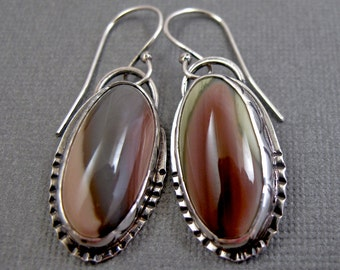Imperial Jasper Earrings in Stamped Sterling Silver Setting - Dangle Earrings