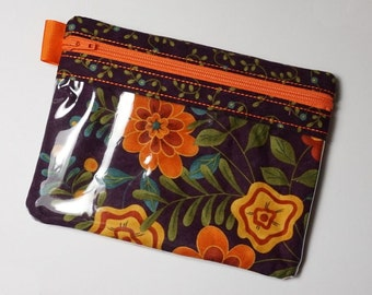 Floral Zipper Pouch, Vinyl Pouch, Vinyl Zipper Pouch, Cell Phone Pouch, Gadget Case, Makeup Bag, Purse Organizer, Coin Purse, USB Case