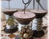 Vintage Wood Spools Note Holders