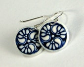 Porcelain Earring Navy Blue and White 3 Flower with Hand Forged Sterling Silver Earwires