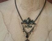 Regal, Rustic Patinaed Brass Fleur de lis Charm & Leaf detail with Black Crystal and Vintage Diamond Shaped Key Necklace