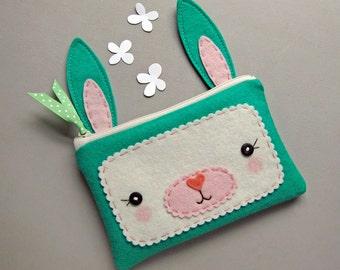 Jade Bunny Zipper Pouch