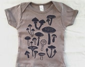 hand-printed organic cotton mushroom tee for baby and toddler