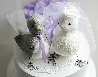Wedding cake topper  Love Birds - Love Birds cake topper  - Fabric Bird Cake Topper- Birds wedding cake topper - CUSTOM ORDER