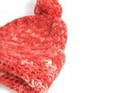 Orange wool hat, pompom crochet beanie, bobble slouch hat, teen adult accessories, uk seller, handmade in Cornwall in luxury yarn