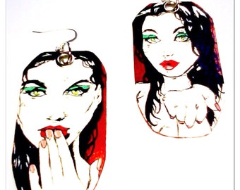 Blowing Kisses - Hand-Painted one of a kind double sided Vixen earrings