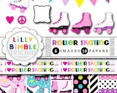 40% off Roller Skating clipart for birthday parties, invites, roller derby, skates, digital papers, printables INSTANT DOWNLOAD