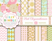 40% off Elegant Digital Scrapbook Paper with Pink Chrysanthemum,  mums, flowers, pink and gold printable DIgital Download
