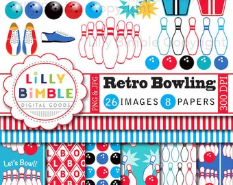 40% off BOWLING clipart invitation, birthday party clip art, pins, balls, digital papers INSTANT DOWNLOAD