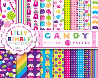60% off Candy Digital Papers jelly beans, gumballs, lollipops, purple, hot pink, green, cupcakes, INSTANT DOWNLOAD