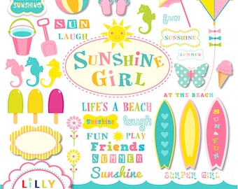 40% off Beach surf clipart set 42 items Commercial and Personal Use Surfing Sunshine Girl INSTANT DOWNLOAD
